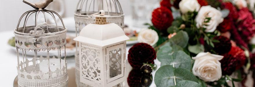 photo d'une composition pour la décoration d'un mariage